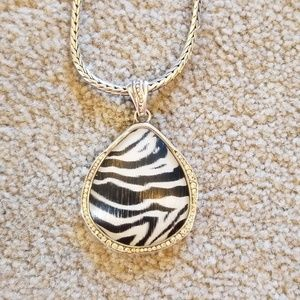 Brighton reversible zebra pendent necklace